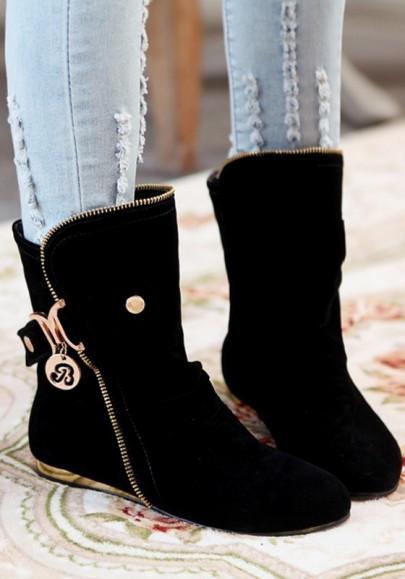 Schwarz Runde Zehe Flache Reißverschluss Beiläufige Stiefeletten Damen Stiefel Halbstiefel