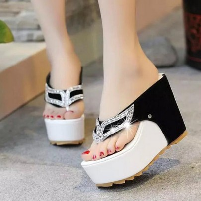 Black Piscine Mouth Wedges Rhinestone Casual Sandals