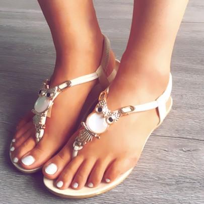 Beige Runde Zehe Flach Perlen Eule Strass Flache Beiläufige Knöchel Sandalen Damen