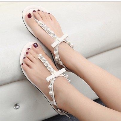 White Round Toe Bow Rhinestone Pearl Buckled Casual Flat Sandals