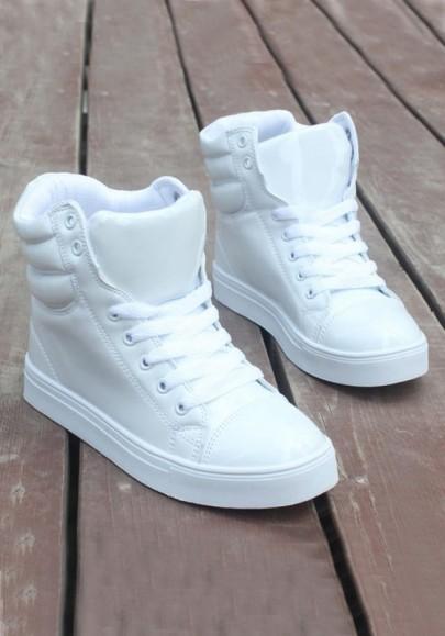 Chaussures bout rond plat à lacets décontracté cheville blanc