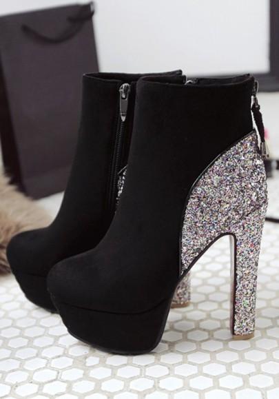 Schwarze Runde Zehe Klobig Strass Glitzer Reißverschluss Schick High Heels Elegant Stiefelette Hochhackige Schuhe Damen
