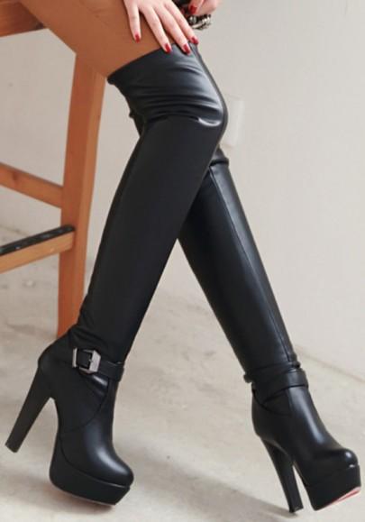 Schwarze runde zehe klumpige Wölbungs-Art und Weise Over-The-Knie Aufladungen