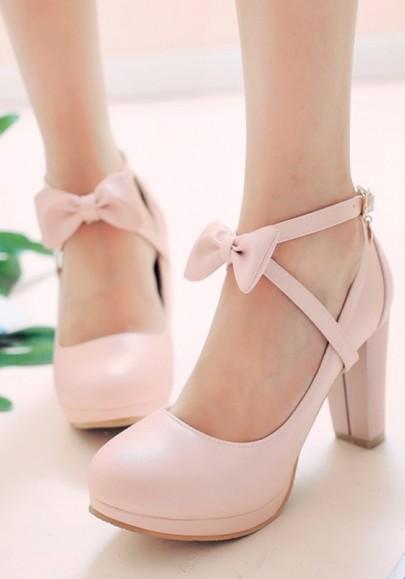 Chaussures bout rond trapu nœud papillon boucle doux à talons hauts rose