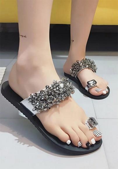 Bout rond perles de rhinestone unis pantoufles de mode argent
