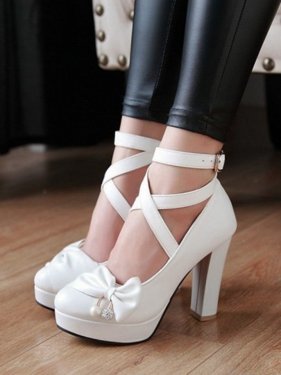 White Round Toe Chunky Cross Strap Bow Buckle Pearl Sweet Wedding Prom High-Heeled Shoes