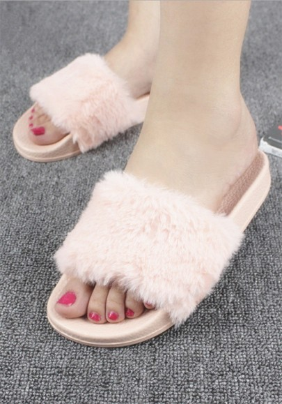 Pink Round Toe Faux Fur Patchwork Casual Slippers