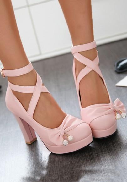 Rosa Runde Zehe Blockabsatz Schleife Schnürung Fesselriemen Mode High Heels Pumps Damen Schuhe