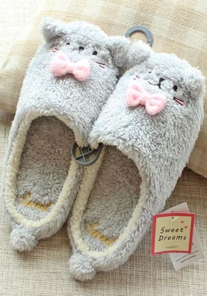 Grey Round Toe Flat Cat Faux Fur Furball Cute Slippers