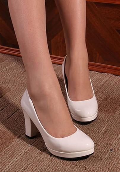 Weiße Runde Zehe Blockabsatz Elegant High Heels Pumps Damen Schuhe mit Hohen Absatz
