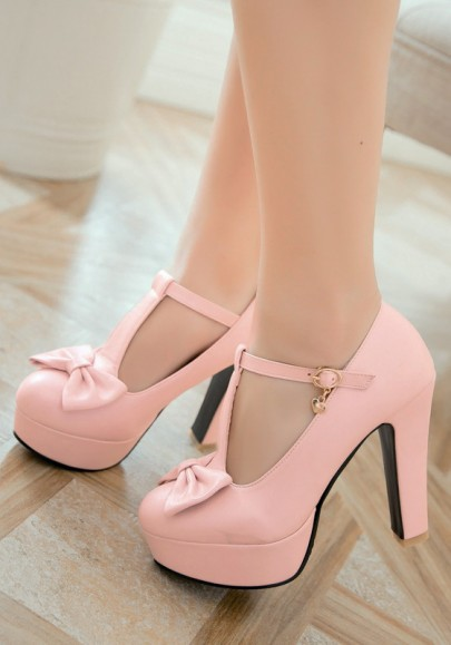 Pink Round Toe Chunky Bow Sweet Buckle High-Heeled Shoes