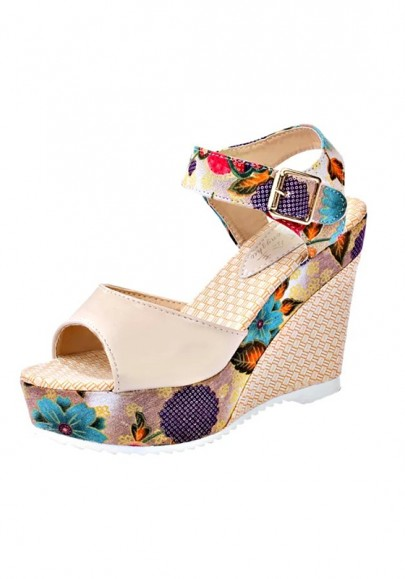 Apricot Piscine Mouth Wedges Floral Print Sweet Sandals