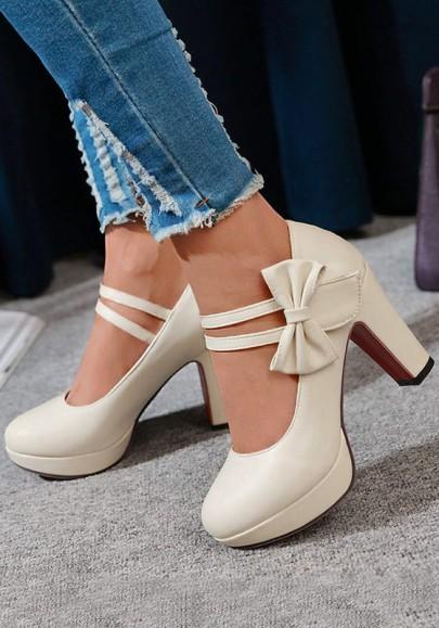 Beige Runde Zehe Chunky mit Blockabsatz Schleife Süße Hochhackige High Heels Damen Party Schuhe