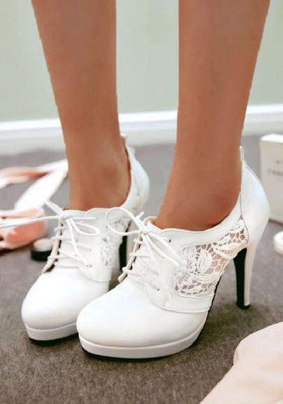 Weiß Runde Zehe Stilett Spitze Cut Out Schnürung Süß High Heels Frauen Schuhe Damen Pumps