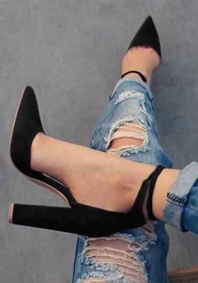 Sandales haute épais talons avec lacets cheville élégant noir