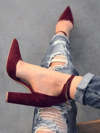 Burgundy Point Toe Chunky Lace-up Elegant High-Heeled Suede Shoes