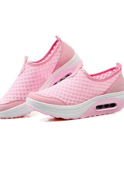 Pink Round Toe Heavy-Soled Casual Mesh Shoes
