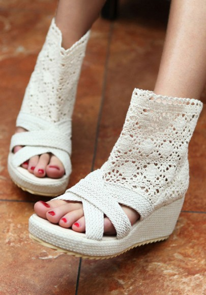 Beige Piscine Mouth Wedges Fashion Hollow-out Sandals