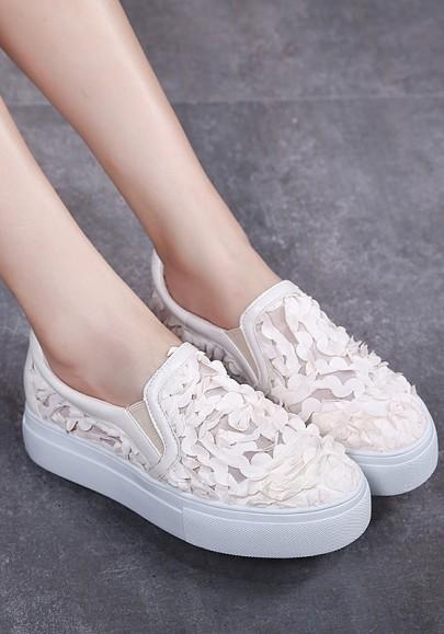 Zapatos granadina de suela gruesa casuales albaricoque