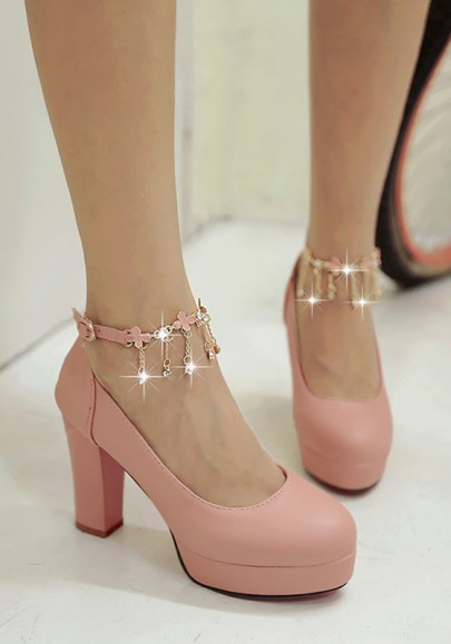 Pink Round Toe Chunky Rhinestone Chain Fashion High-Heeled Shoes