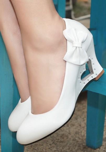 Weiße Runde Zehe Schleife Hohle-heraus Mode Wedges Schuhe Damen