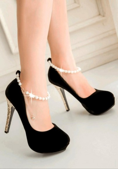 Black Round Toe Stiletto Sequin Beads Chain Casual High-Heeled Shoes