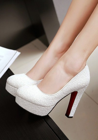 White Round Toe Chunky Sequin Casual High-Heeled Shoes