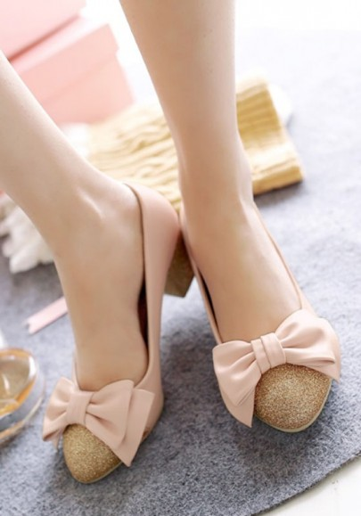 Pink Round Toe Chunky Bow Sequin Fashion High-Heeled Shoes