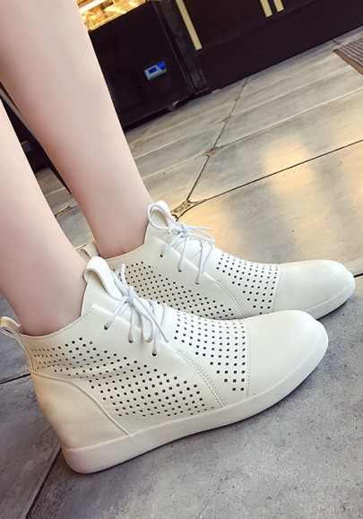 White Round Toe Flat Lace-up Hollow-out Casual Shoes