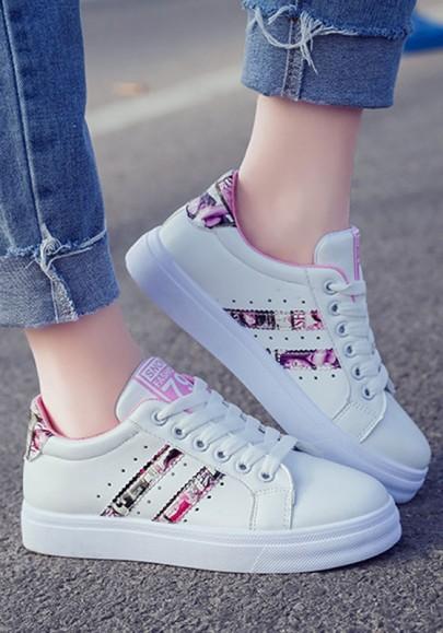 Zapatos punta redonda modelo de letra plana casuales rosa