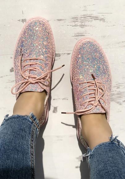 Rosa runde Zehe Paillette Spitze-up Mode flache Schuhe
