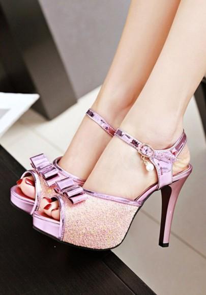 Sandalias piscina boca estilete lazo de lazo moda de tacón alto rosa