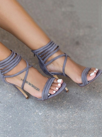 Grey Round Toe Stiletto Trappy Zipper Casual High-Heeled Sandals