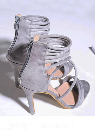 Sandales femme haute talons bout rond à lacets cheville mode de soirée gris