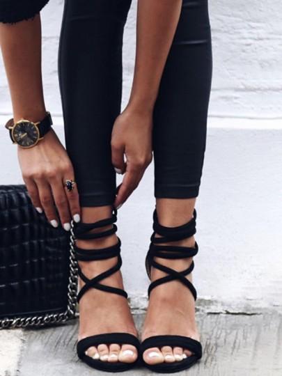 Sandales femme haute talons bout rond à lacets cheville mode de soirée noir
