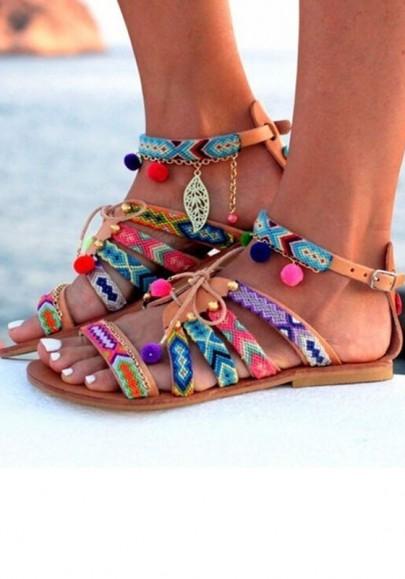 Sandales femme rond bout plat sangle des pompons bohemian d'été multicolores