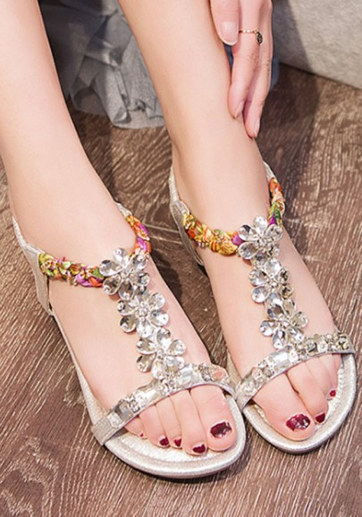 Silver Round Toe Flat Rhinestone Fashion Sandals