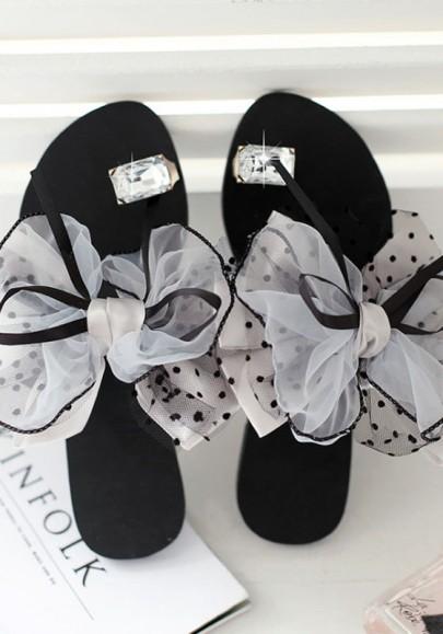 Grey Round Toe Flat Rhinestone Bow Sweet Slippers