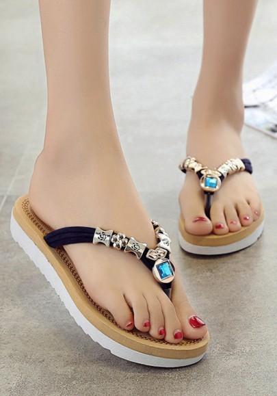 Blue Round Toe Heavy-Soled Rhinestone Beads Casual Slippers
