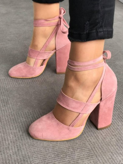 Pink Round Toe Chunky Cut Out Cross Strap Fashion High-Heeled Shoes