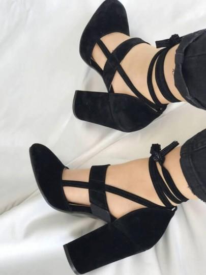 Sandales à lacets cheville croix sangle épais talons hautes élégant femme chaussures noir