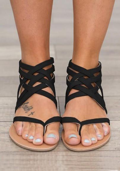 Schwarze Runde Zehe Flach Kreuz Bügel Beiläufige Rome Zehentrenner Sandalen Mode Damen