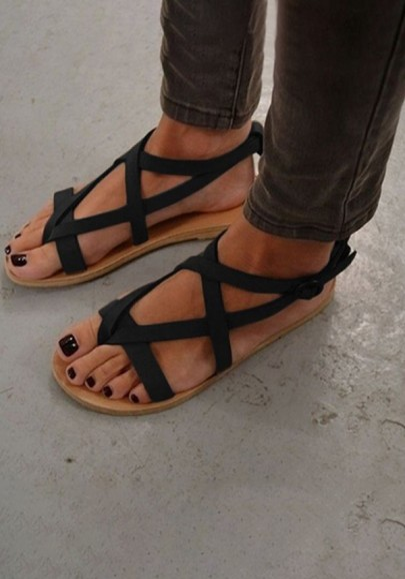 Schwarze Runde Zehe Flache Wölbung Beiläufige Knöchel Römer Zehentrenner Flip Flops Sommer Sandalen Damen Schuhe