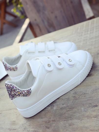 Baskets scratch bout rond plat paillette décontracté femme chaussures blanc