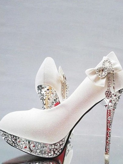 Chaussures bout rond stylet strass cravate mode à talons hauts blanc