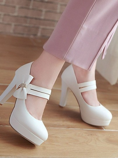 White Round Toe Chunky Bow Rhinestone Sweet High-Heeled Shoes