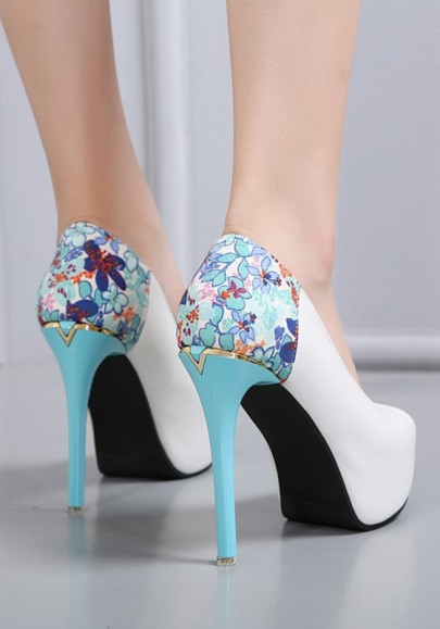 Blue Piscine Mouth Stiletto Floral Print Fashion High-Heeled Shoes