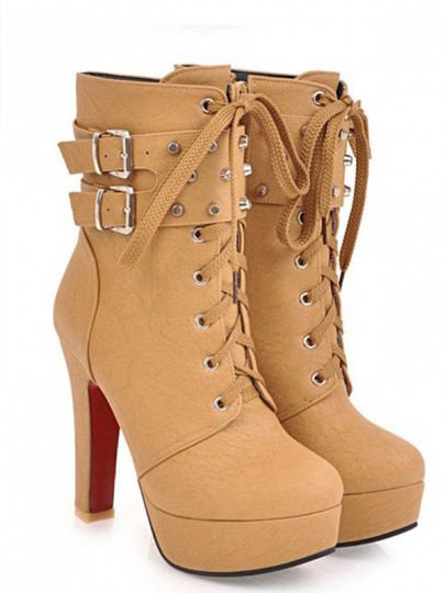 Yellow Round Toe Chunky Rivet Zipper Casual Ankle Boots
