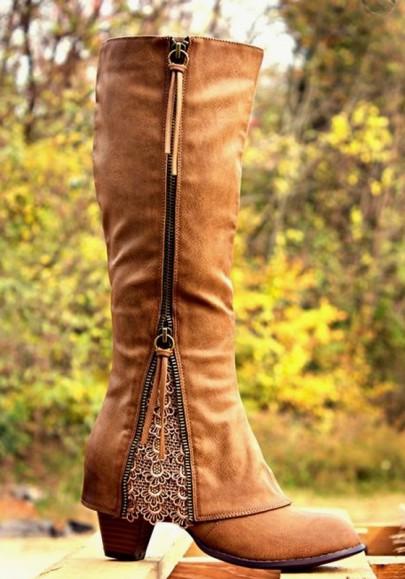 Khaki Round Toe Chunky Zipper Lace Stitching Fashion Boots