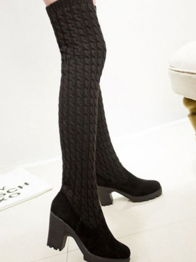Black Round Toe Chunky Knit Casual Over-The-Knee Boots